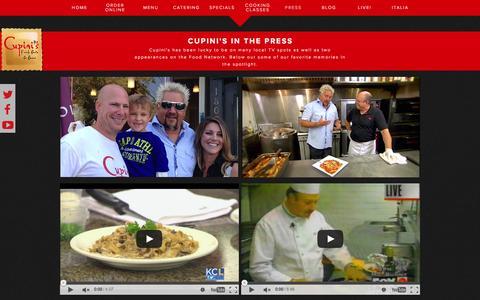 Screenshot of Press Page cupinis.com - Cupini's Italian Deli, KCMO | Cupini's In The News - captured Feb. 2, 2016