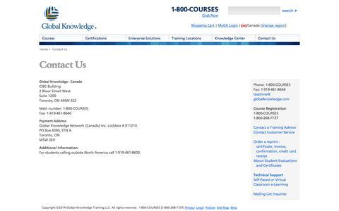 Screenshot of Contact Page globalknowledge.ca - Contact Us - Global Knowledge Canada - captured Sept. 19, 2014