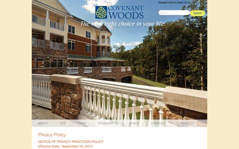 Screenshot of Privacy Page covenantwoods.com - Privacy Policy | Covenant Woods | Continuing Care Retirement Community in Richmond, VA - captured July 17, 2016