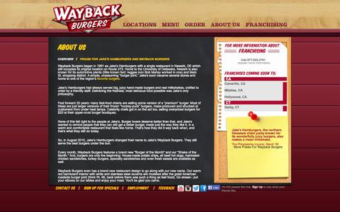 Screenshot of About Page waybackburgers.com - About Us - Wayback Burgers - captured Sept. 23, 2014