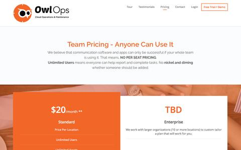 Screenshot of Pricing Page owlops.com - Pricing - Owl Ops - captured April 30, 2017