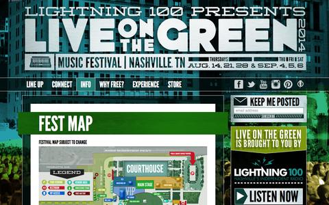 Screenshot of Maps & Directions Page liveonthegreen.net - Fest Map | Info | Live On The Green 2014 - captured Sept. 19, 2014