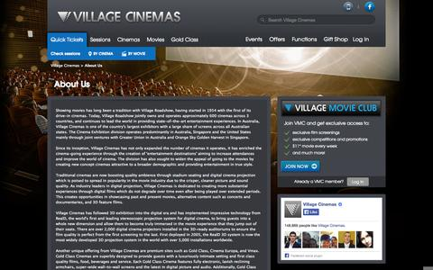Screenshot of About Page villagecinemas.com.au - Village Cinemas - About Us - captured Oct. 26, 2014