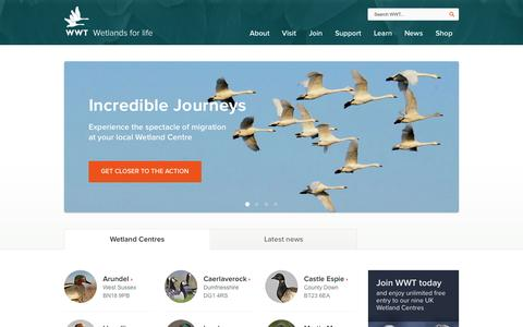 Screenshot of Home Page wwt.org.uk - WWT - Wetlands for life - captured Sept. 25, 2014