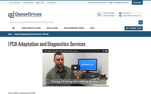 Screenshot of Services Page donordrives.com - Repair and Replacement Services Hard Drive - PCB Swap - Donor Drives - captured Sept. 23, 2014