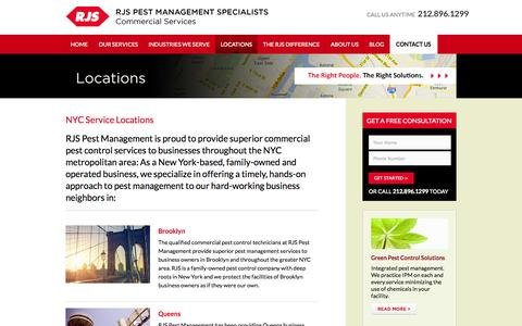 Screenshot of Locations Page rjspest.com - New York City Pest Control Service Areas| RJS Pest - captured Oct. 26, 2014