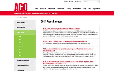 Screenshot of Press Page ago.net - 2014 Press Releases | AGO Art Gallery of Ontario - captured Sept. 19, 2014