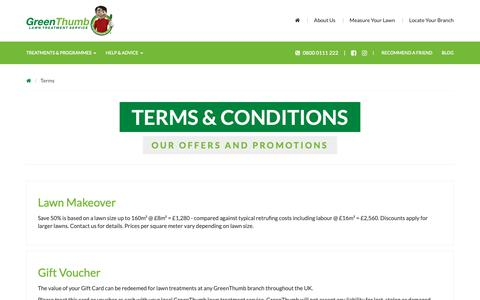 Screenshot of Terms Page greenthumb.co.uk - Terms & Conditions - GreenThumb Lawn Treatment Service - captured Sept. 30, 2018
