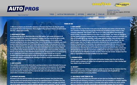 Screenshot of Terms Page autopros.com - Terms of Use and Conditions | Goodyear Auto Pros - captured Oct. 1, 2014