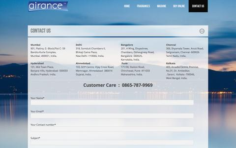 Screenshot of Contact Page airance.com - Airance | Contact Us | Buy Online Air Freshener Dispenser - captured Sept. 30, 2014