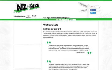 Screenshot of Testimonials Page nzbybike.com - Testimonials - captured Aug. 15, 2016