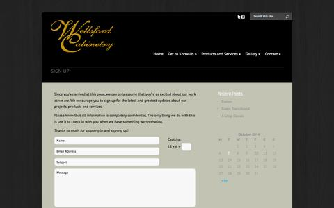 Screenshot of Signup Page wellsfordcabinetry.com - Sign Up | Wellsford Cabinetry - captured Oct. 7, 2014