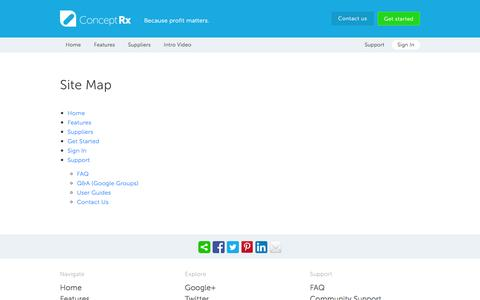 Screenshot of Site Map Page conceptrx.com - Sitemap - ConceptRx: Purchase Generic Drugs, Compare Prices, Save - captured Dec. 10, 2015