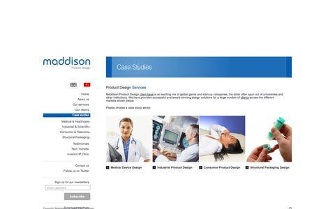 Screenshot of Case Studies Page maddison.co.uk - Product Design Services UK - Maddison - captured Oct. 4, 2014