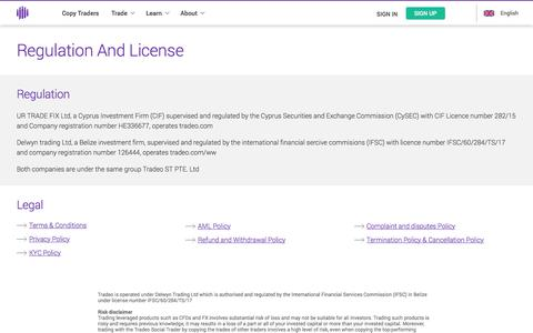 Screenshot of About Page tradeo.com - Regulation And License - captured Jan. 15, 2018