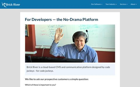 Screenshot of Developers Page brickriver.com - For Developers - captured Nov. 23, 2016