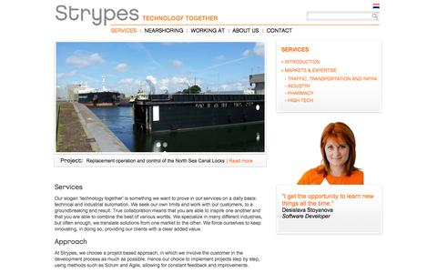 Screenshot of Services Page strypes.eu - Strypes - Services - captured Oct. 8, 2014
