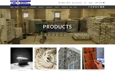 Screenshot of Products Page limeworks.us - Products - LimeWorks.us - captured Sept. 28, 2018