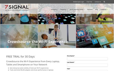 Screenshot of Trial Page 7signal.com - Crowdsource the Wi-Fi Experience - captured July 13, 2018