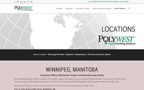 Screenshot of Locations Page polywest.ca - Polywest Ltd. |   Polywest Branch Locations - captured Oct. 2, 2014
