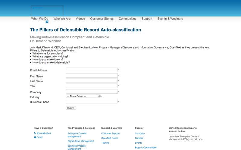 Pillars of Defensible Records Auto-class
