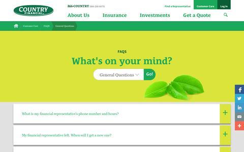 Screenshot of FAQ Page countryfinancial.com - General Questions - captured Oct. 28, 2014