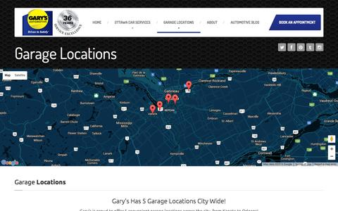 Screenshot of Locations Page garysautomotive.com - Garage Locations | FInd Your Local Gary's Automotive - captured Jan. 26, 2016