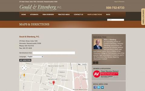 Screenshot of Maps & Directions Page gouldettenberg.com - Visit A Worcester Criminal Law & Personal Injury Attorney | Gould & Ettenberg, P.C. - captured Oct. 3, 2014