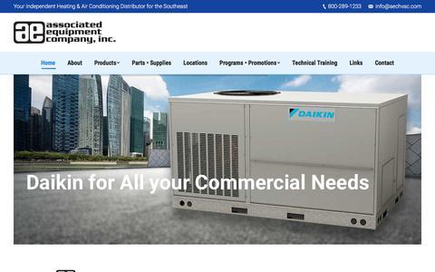 Screenshot of Home Page associatedequipmentinc.com - Amana, Daikin, Goodman HVAC Distributors - Associated Equipment Co. - captured Oct. 9, 2017