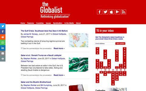 Screenshot of Press Page theglobalist.com - News - The Globalist - captured June 22, 2017