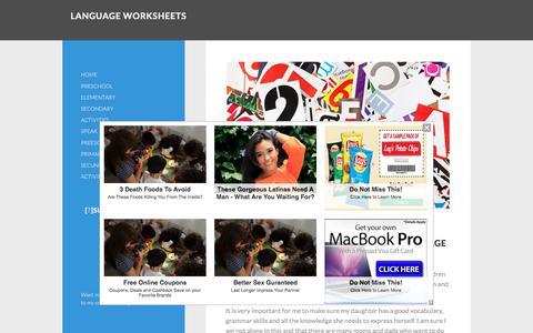 Screenshot of Home Page language-worksheets.com - Language worksheets - captured Sept. 23, 2018