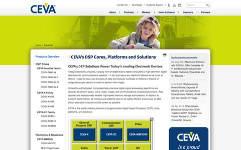 Screenshot of Products Page ceva-dsp.com - CEVA's DSP Cores, IP Cores, Platforms and Solutions Power the World's Leading Mobile, Digital Home and Networking Products - captured Oct. 1, 2014