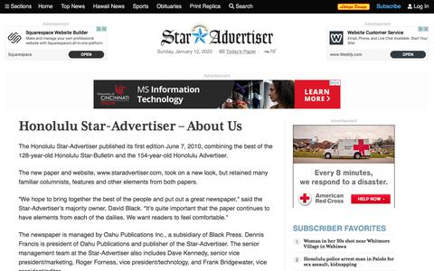 Screenshot of About Page staradvertiser.com - About Us | Honolulu Star-Advertiser - captured Jan. 12, 2020