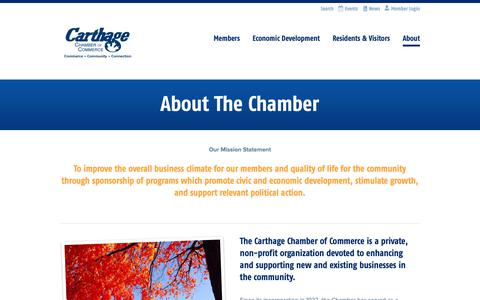 Screenshot of About Page carthagechamber.com - About The Chamber | Carthage Chamber of Commerce - captured Nov. 10, 2018