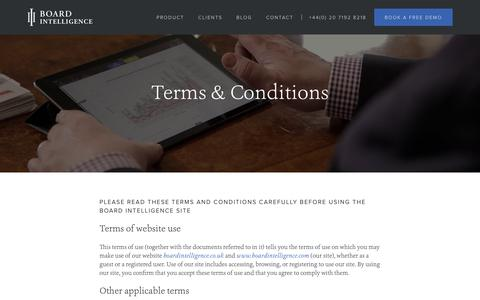 Screenshot of Terms Page boardintelligence.com - Terms & Conditions | Board Intelligence - captured Oct. 26, 2019