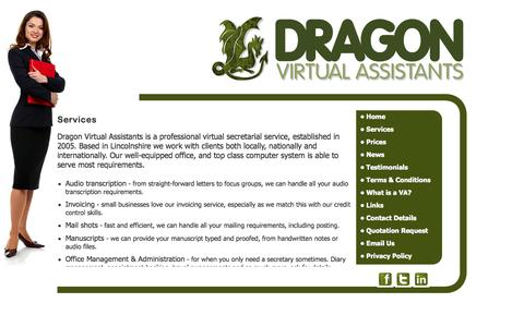Screenshot of Services Page dragonvirtualassistants.co.uk - Dragon Virtual Assistants provide  secretarial services, Audio Typing Services, word processing, mailshots and mail merge services, proof reading,research, office management, office administration, invoicing, credit control,Telephone answering, call  - captured Sept. 30, 2014