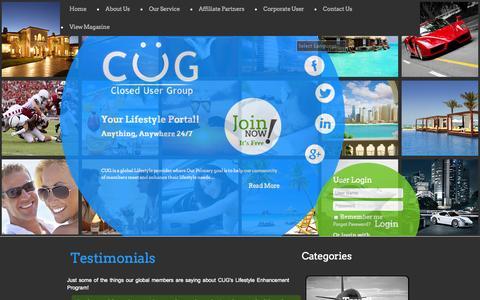 Screenshot of Testimonials Page cug247.com - CUG-Testimonials - captured Oct. 1, 2014
