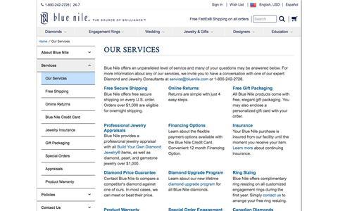 Screenshot of Services Page bluenile.com - Our Services | Blue Nile - captured Feb. 22, 2017