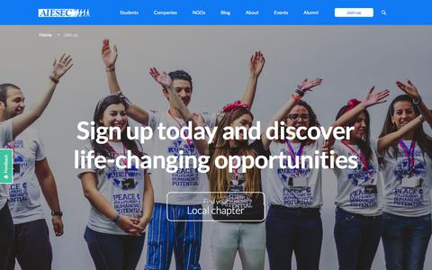 Screenshot of Signup Page aiesec.ch - AIESEC recruits! Join - captured Feb. 4, 2016