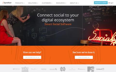 Screenshot of Home Page spredfast.com - Social Media Experience Management Software Platform | Spredfast - captured Feb. 21, 2016
