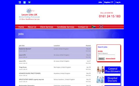 Screenshot of Jobs Page locumlinksuk.com - Locum Links UK Locum Links UK - captured Sept. 30, 2014