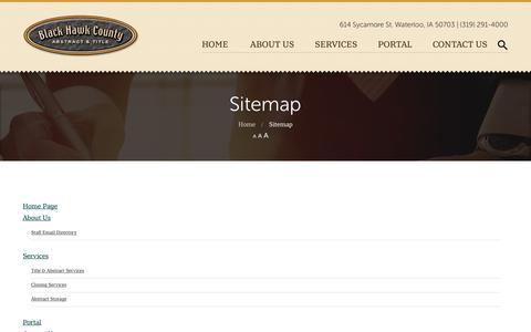 Screenshot of Site Map Page blackhawkabstract.com - Sitemap and page listing | Black Hawk County Abstract - captured Oct. 6, 2018