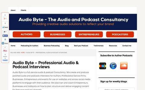 Screenshot of About Page audio-byte.co.uk - Audio Byte - Professional recorded audio & podcast interviews | - captured Sept. 30, 2014