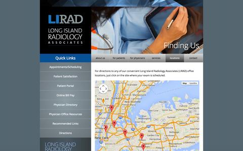 Screenshot of Locations Page Maps & Directions Page lirad.com - Locations - Long Island Radiology - captured Oct. 22, 2014