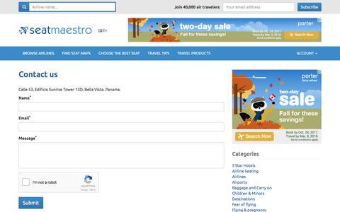 Screenshot of Contact Page seatmaestro.com - Contact us   SeatMaestro.com - captured Oct. 24, 2017