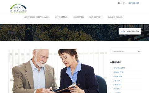 Screenshot of Blog bridgetobetterliving.com - Guidance Corner | Bridge to Better Living - captured Nov. 23, 2016