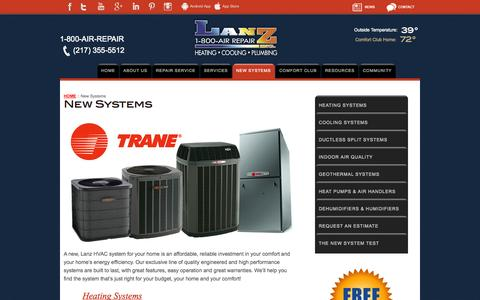 Screenshot of Products Page lanzinc.com - New Systems | Lanz Heating & Cooling - captured Nov. 2, 2014