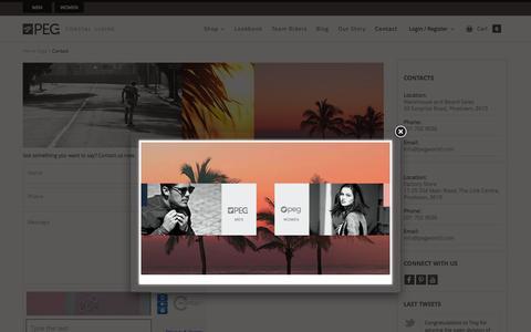 Screenshot of Contact Page pegworld.com - Contact Us - Peg World - captured July 3, 2015