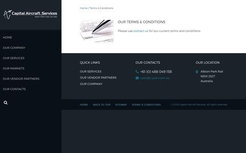 Screenshot of Terms Page capair.com.au - Terms & Conditions - Capital Aircraft Services - captured Sept. 26, 2018