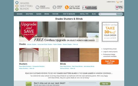 Screenshot of Home Page shadesshuttersblinds.com - Shades, Shutters, Blinds | Affordable Window Treatments - captured Oct. 7, 2014